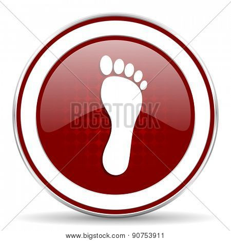 foot red glossy web icon