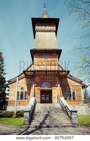 Traditional Wooden Church In Tatra Mountains.
