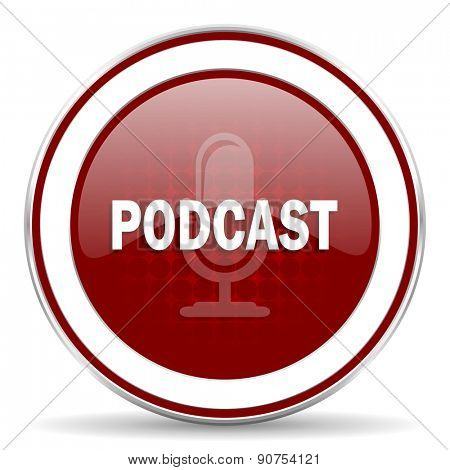 podcast red glossy web icon