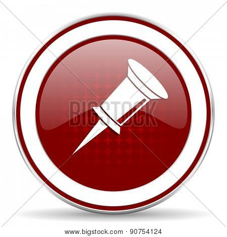pin red glossy web icon