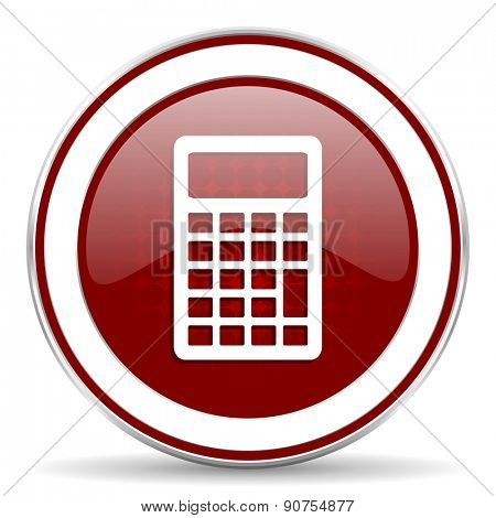 calculator red glossy web icon