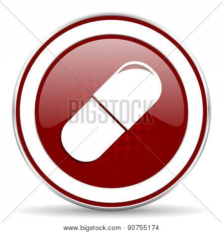 drugs red glossy web icon