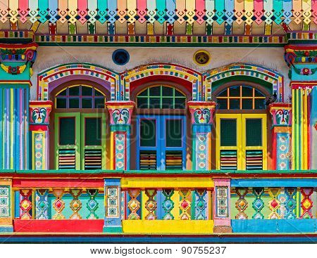 Colorful Facade Of Building In Little India