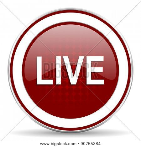 live red glossy web icon