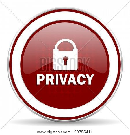 privacy red glossy web icon