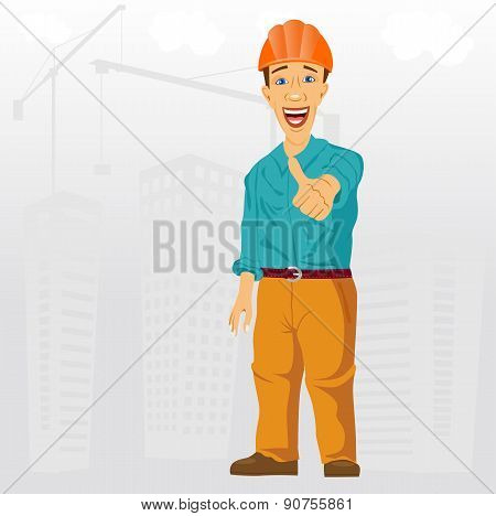 construction project engineer giving thumbs up
