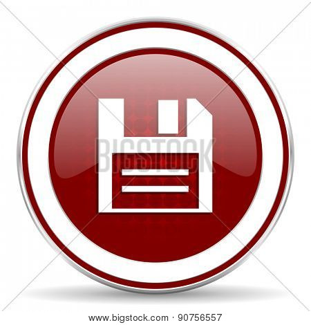 disk red glossy web icon