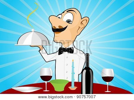 waiter with mustache setting the table