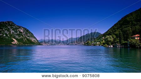 Lugano City And Lake.