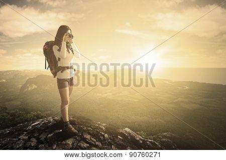 Hiker Captures Photo On Mountain