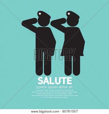 Man And Woman Gave The Salute Gesture.