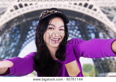 Modern Girl Taking Selfie At Eiffel Tower