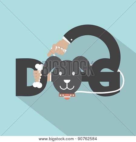Dog With Bone In Hand Typography Design.