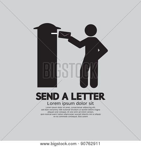 Man Sending A Letter Graphic Symbol.