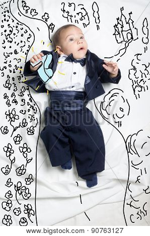 Cute baby boy decorated as prince charming looking for Cinderella