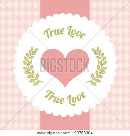 True love design day over pink background vector illustration