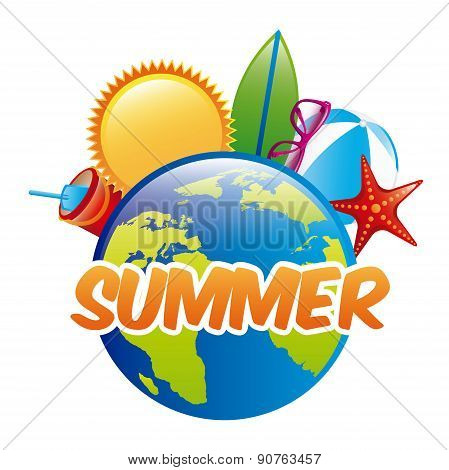 summer vacation design over white background vector illustration
