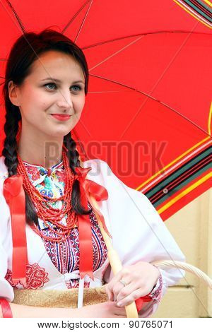 Croatian lady in traditional costumes