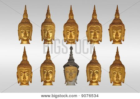 isolate heads of buddha