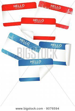 Vector set of blank adhesive name badges.