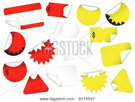 Vector set of blank retail tags with peeled edges.