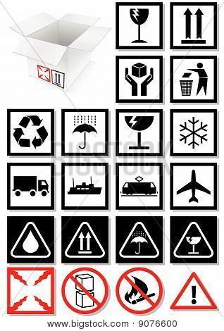 Vector illustration set of packing symbols and labels.