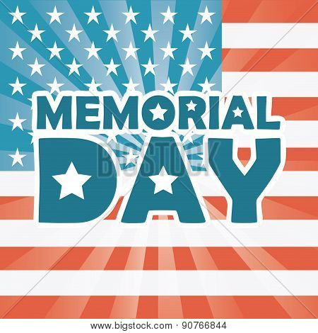 Memorial Day design over US flag background vector illustration