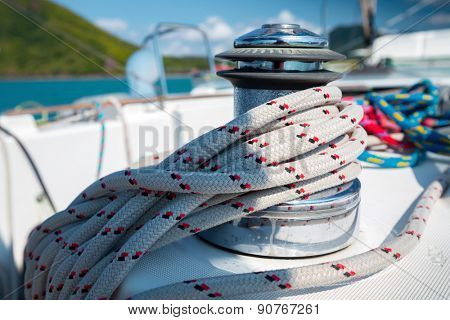 Macro shot of the coil of rope on the sail boat