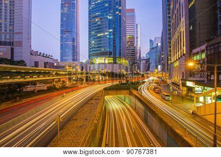 Long Exposure Street View Of Hong Kong, China