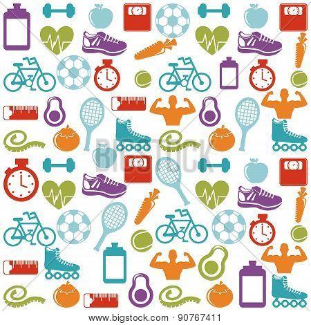 Fitness and sports design over pattern background vector illustr