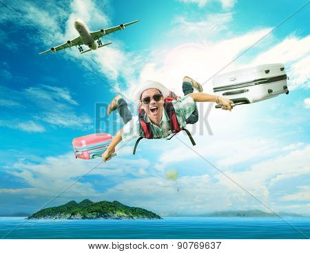 Young Man Flying From Passenger Plane To Natural Destination Island On Blue Ocean With Happiness Fac