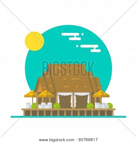 Flat Design Of Over Water Beach Restaurant