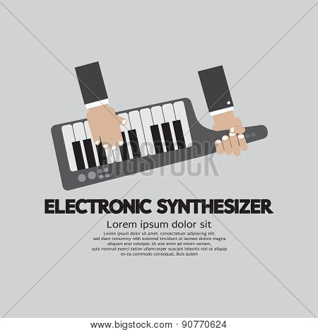 Musician Playing Electronic Synthesizer Flat Design.