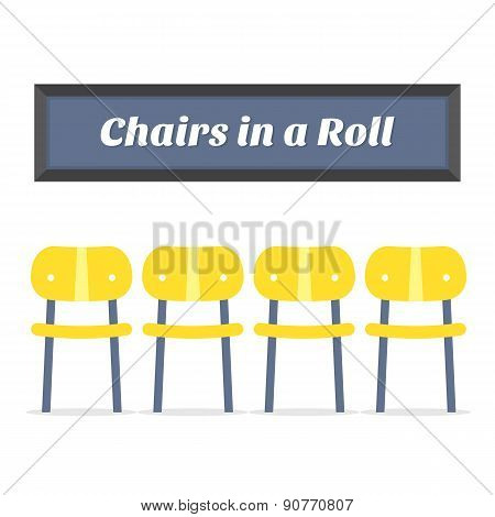 Empty Wooden Four Chairs On White Background.