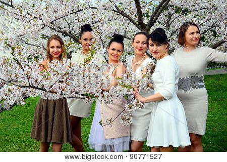 Girls Have A Spring Celebration In Vilnius City