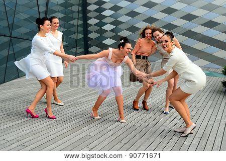 Beautiful Lovely Girls Dancing In Vilnius City