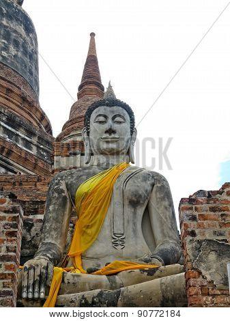 Buddha ancient  at Yai Chai Mong Kol temple,Ayutthaya, Thailand