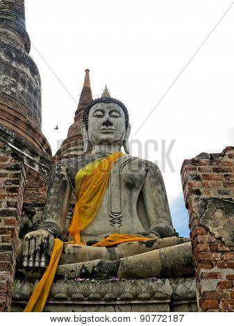 Buddha ancient  at Yai Chai Mong Kol temple,Ayutthaya, Thailand