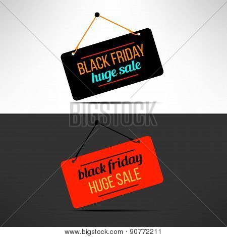 Vector black friday sale promotional banner. Retail discount message
