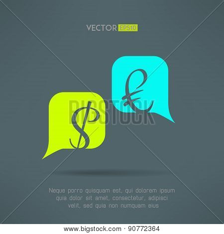 Vector euro and dollar dialog with speech bubbles. Market balance and european economy crisis concep