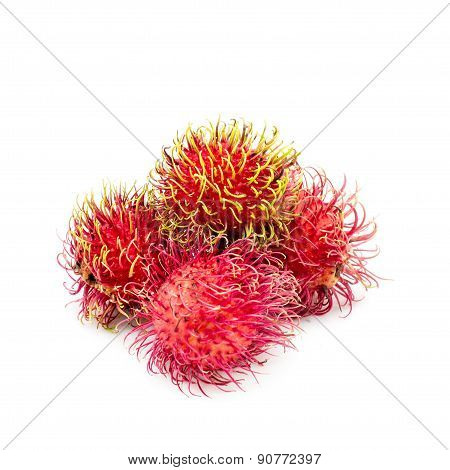 Rambutan Sweet Delicious Fruit Isolated On White Background