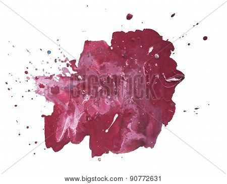 Abstract hand drawn red drop splatter stain art thick paint on white background