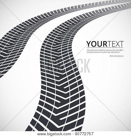 Tire tracks, white background