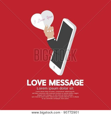 Heart In Hand From Smartphone Love Message Concept.