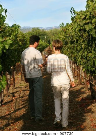 Couple At California Vineyard
