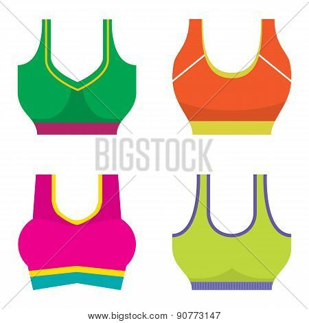Set Of Colorful Women Sport Bra.