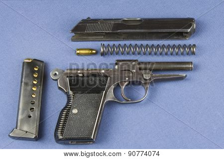 disassembled gun, weapon Czechoslovak production model