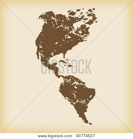 Grungy american continents icon