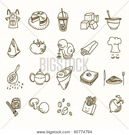 Food cafe set Morning breakfast lunch or dinner kitchen doodle hand drawn sketch rough simple icons