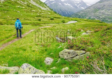 Young woman on a mountain trail, Alps, Austria